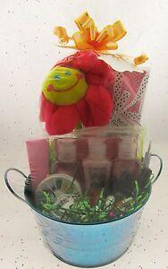 Gift Basket Birthday  Manicure Bath & Shower Fizz Necklace Plush Flower BF