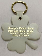 Vtg Strange's Mobile Home Trailer Park 4 Leaf Clover Keychain Glo Dark Pocatello