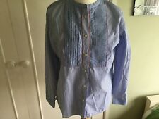 BNWT Springfield blue and white striped stripey shirt pintucks Eur42 UK14 cotton