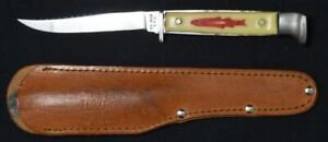 KA-BAR Trout Knife, vintage Original sheath 1930-1945 Trout on Bakelite NR Auc!!