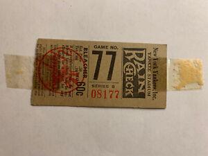 VINTAGE NEW YORK YANKEES STADIUM TICKET STUB GAME NO. 77 SERIES B RAIN CHECK