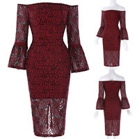 Lady Red Sleeve Off Shoulder Bodycon Cocktail Wiggle Lace Pencil Dress Size:6-18
