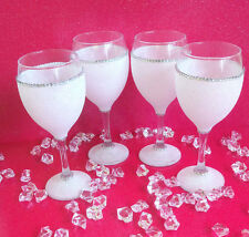 4 WHITE GEMMED RHINESTONE  GLITTER GLASSES WEDDING BIRTHDAY CHRISTMAS GIFT