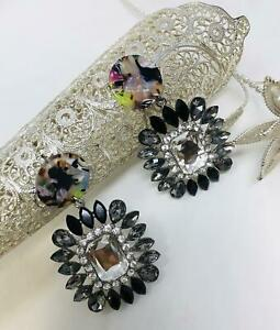Geometric Acrylic Diamante Drop Dangle Stud Earrings with Rhinestone