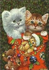 "Christmas Kitties Garden Flag Holiday Cat Yard Banner Custom Decor 12"" x 18"""