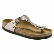 Birkenstock Womens Gizeh Electric Metallic Taupe Sandals Shoes