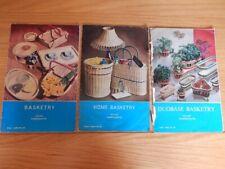 3 VINTAGE CIRCA 1960'S ATLAS HANDICRAFT LEAFLETS BASKET TITLES NO'S 34, 44 & 64.
