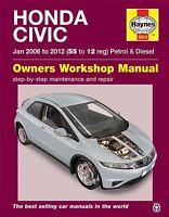 HAYNES SERVICE & REPAIR MANUAL 5913 Honda Civic (Jan '06-'12) 55 to 12