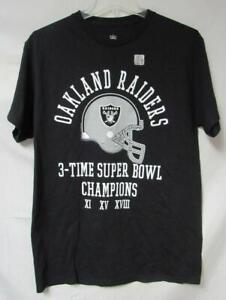 Oakland Raiders Men's Size Medium 3 Time Super Bowl Champions T-Shirt A1 3752