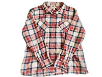 LL Bean Plaid Women's Shirt  Button Front Blue/Peach Pockets Sz L Long Sleeves