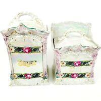 Vtg Sugar Salt Mepoco Ware Iridescent Porcelain Floral Canisters Made in Germany