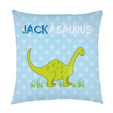 Childrens name dinosaur personalised bedroom cushion