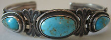 VINTAGE NAVAJO INDIAN SILVER STAMPED TURQUOISE CUFF BRACELET
