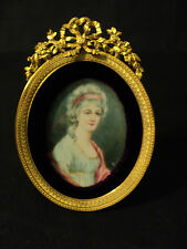 GORGEOUS 19th C. FRENCH GILT FRAME with BEAUTIFUL HAND ENAMELED SIGNED PORTRAIT