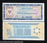 BOLIVIA 1,000,000 PESOS P192C 1985 1000000 1 MILLION UNC LATINO MONEY BANK NOTE