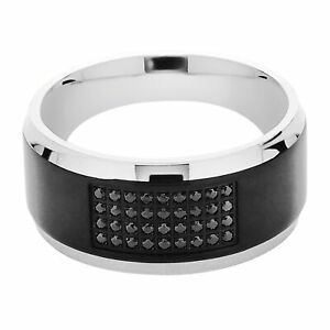 Men's Two-Tone Band Ring with Black Cubic Zirconias in Stainless Steel