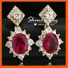 18K GOLD FILLED VICTORIAN SIMULATED RUBY Garnet DIAMOND SOLID WEDDING EARRINGS