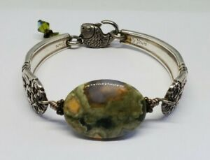 Artisan Green Agate Spoon Bracelet Eclectic Fish Clasp Eternally Yours