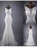 UK New White/Ivory Lace Mermaid  Wedding Dress Bridal Gown Size 6-20