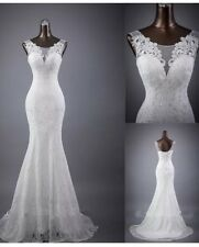 UK New White/Ivory Lace Mermaid  Wedding Dress Bridal Gown Size 6-20