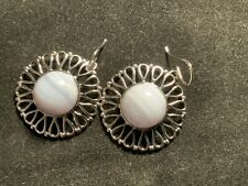 Earrings In .925 Sterling Silver Qvc Blue Chalcedony Round Designer