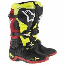Bottines Cross Alpinestars Technologie 10 Mx Chaussures Noir Jaune Fluo Rouge 47