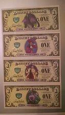 2013 A Disney Dollar 4 note set Villains W/ Error Cruella 4 Digit 2X2 Way Match