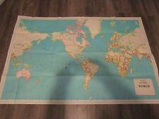 """Hammond Paper World Map w/ USSR East West Berlin British Hong Kong 33"""" x 50"""" Vtg"""