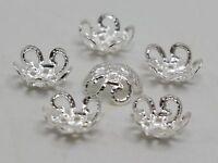 500 Silver Filigree 5-Petals Flower Bead Caps 10mm Fit 10-12mm Bead Jewelry Find