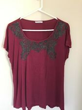 Pre-loved Ladie size 16 Neat Wine Red Top with Sparky Detail by Hot Options
