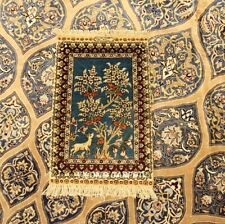 Yilong 1'x1.5' 400Lines Tree Of Life Area Rug Handknotted Silk Carpet 230H