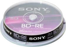 10 Sony Blu-ray BD-RE 25Gb 1-2x Rohlinge Spindel Wiederbeschreibbar