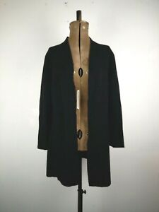John Lewis Black dge To Edge Coatigan UK 10, P to P:53cms L:80cms 40% Wool