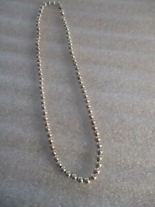 FAS STERLING SILVER BEADED NECKLACE 18 INCHES LONG  16 GRAMS