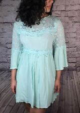 Sea Green Floral Lace Mini Dress Open Back 3/4 Sleeve Medium