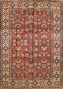 Tribal Kazak Rug, 8' x 12', Red/Beige, All wool pile