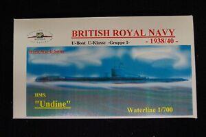 HP Models  Brit. U-Boot der U-Klasse 1. Gruppe HMS Undine -1938/40-  1:700 Resin