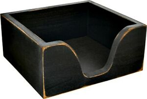 New Farmhouse Rustic Primitive BLACK NAPKIN HOLDER Wood Box