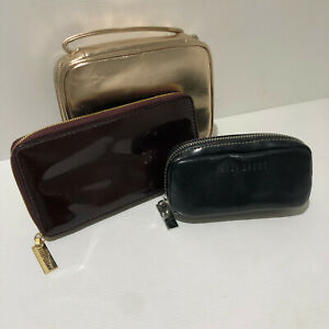 Bobbi Brown make up cosmetics brush bags X 3 VGC medium small gold burgundy