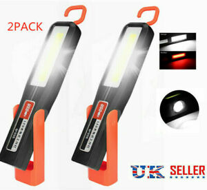 2PCS Rechargeable LED Magnetic Work Light Cordless COB Inspection Lamp Torch
