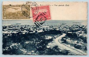Postcard Haiti Port-Au-Prince Panorama Birdseye View 1937 Stamps Cancel AE16