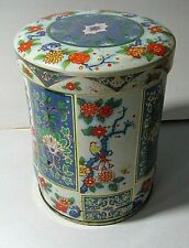 "Vintage Daher Ware Tin Canister Biscuit Tea Chinese Flowers Round 5""H 3""Diameter"