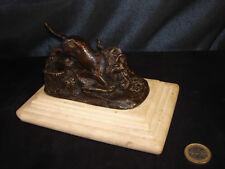 bronze animalier ancien XIXéme sur marbre singe aux prises avec lion encrier ?