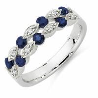 1ct Round Blue Sapphire Half Eternity Vintage Wedding Band 14k White Gold Finish