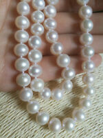 """Real 16""""  9-8MM AAAA SOUTH SEA NATURAL white PEARL NECKLACE 14K GOLD CLASP"""