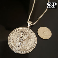 "Mens Hip Hop Stainless Steel LION HEAD CZ Pendant w/ 4mm 24"" Box Chain Necklace"