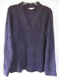 Coldwater Creek Pointelle Stitch Sleeve Solid Pullover