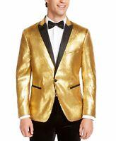 INC Mens Blazer Gold Black Size Large L Sequin One-Button Slim-Fit $149- 386