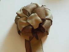 Tan Linen Burlap Rustic Christmas Tree Topper Bow Wreath Swag Staircase Decor
