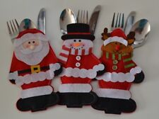 Christmas Table Decorations Cutlery Holders Set Luxury Snowman Santa & Reindeer